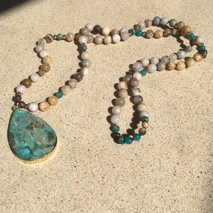 Natural Stone Beaded Geode Necklace Long